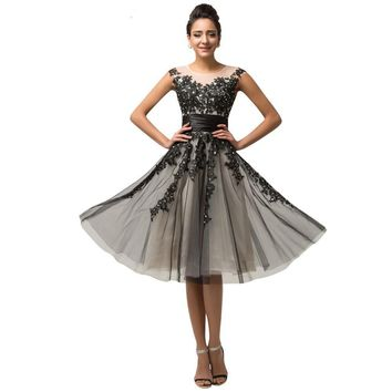 Mid Calf Cap Sleeve Tulle Evening dress Black Appliques Party Gown Formal Dress Mother of the Bride dresses