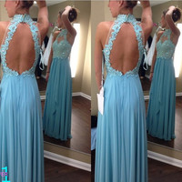 Lace Prom Dresses, Sexy Open Back Prom Evening Homecoming Dress, Beaded Lace Prom Dress Evening Dress, High Collar Blue Chiffon Prom Dress