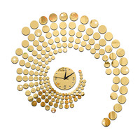 Circle Mirror Wall Clock Living Room   golden