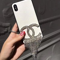 "Hot Sale ""Chanel"" Popular Women Cute Leather Diamond Tassels Transparent Phone Shell Case For iphone 6 6plus iphone 7 7plus iphone 8 8plus iphone X (5-Color) White I12321-1"