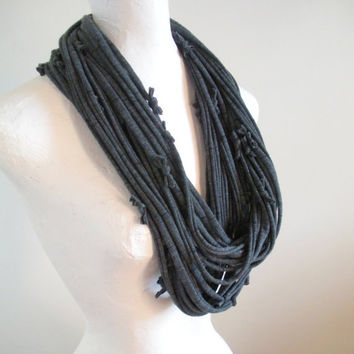 Dark Gray Infinity Scarf Black Pinstripe Steampunk Circle Scarf Eco Friendly Soft Upcycled Cowl Scarf Spring Fashion