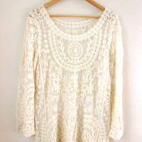Boho Sheer Ivory Lace Mini Dress/Swimsuit Cover Up