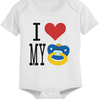 I Love Pacifier White - Funny Graphic Statement Onesuit / Infant T-shirt