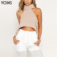 YOINS 2017 New Summer Plus Size 3 Colors High Collar Curved Hem Cropped Top Fashion Sleeveless Halter Back Open Women Blouses
