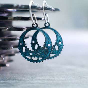 Yoga Earrings, Small Dangle Design, Hindu Jewelry, Raw Aged Brass, Verdigris Patina, Rustic Zen Blue, Vintage Filigree, Whisper Weight