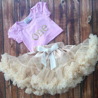 First Birthday, Outfit, cream, pettiskirt set, one year old, 1, petti skirt, chiffon, girls, skirt, pink, gold, party, t-shirt