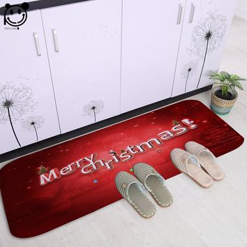 PEIYAUN Cartoon Red and Blue Merry Christmas Letter Soft Flannel Door Mat Factory Custom Made Floor Mat Carpets for Hallway