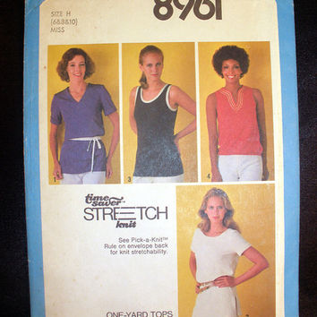 Women's Pullover Short Sleeve Top Tank Top Misses' Size 6, 8, 10 Vintage Simplicity 8961 Sewing Pattern