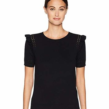 Kate Spade New York Key Pieces Ruffle Short Sleeve Sweater