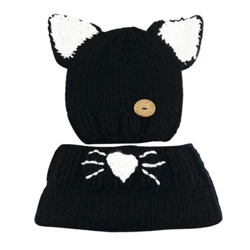Newly Design Kids Winter Wool Knitted Cat Hats Baby Girls Black Shawls Hooded Cowl Beanie Caps Oct30 Drop Shipping
