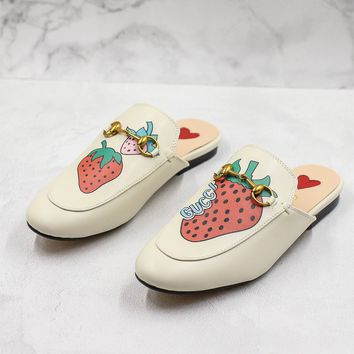 Gucci Princetown Slipper With Strawberry - Best Online Sale
