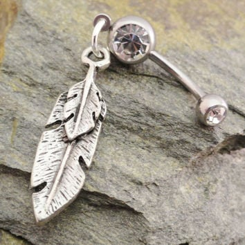 Feather Belly Button Jewelry, Silver Tribal Feather Barbell Navel Piercing