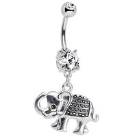 Body Candy Stainless Steel Clear Accent Wish Me Luck Elephant Dangle Belly Ring