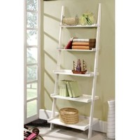 Marcel Mission Style White Finish 5-Tier Ladder Bookcase Shelf