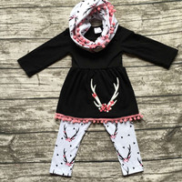 baby winter OUTFITS girls 3 pieces sets with scarf sets girls reindeer clothing baby girls boutique clothes black top outfits