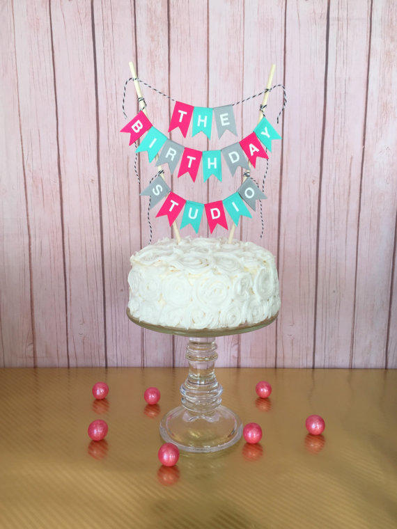 Happy Birthday Cake Banner Topper Bunting