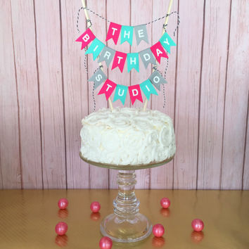happy birthday cake banner topper from thebirthdaystudio on etsy