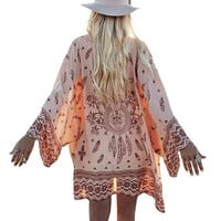Women Sexy Floral Printed Long Sleeve Loose Cardigan Top Summer Beach Cover Up