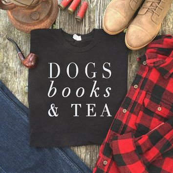 Unisex Dogs Books & Tea Graphic Casual T-Shirt Style Summer O-Neck Cotton Tee High Quality Tumblr Outfits Hipster Crewneck Shirt