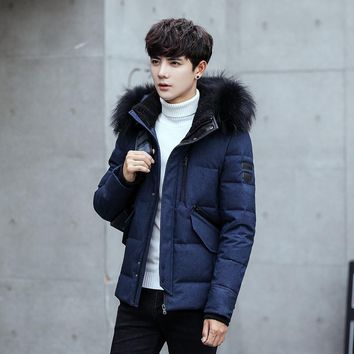 Winter Casual Fur Collar Men Down Jacket Thick Warm