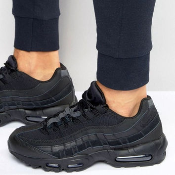 """NIKE"" Fashion Men Running Sport Casual Air max cushion Shoes Sneakers Full black G-CSXY"