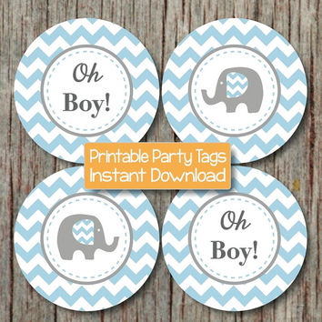 Oh Boy! Baby Shower Decorations Elephant Cupcake Toppers Baby Shower Favor Tags INSTANT DOWNLOAD Powder Blue Grey Chevron 205