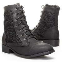 Top Moda Womens LA26 Round Toe Combat Mid Calf Boot Shoes