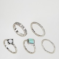 ASOS Pack of 5 Turquoise Etched Stone Rings at asos.com