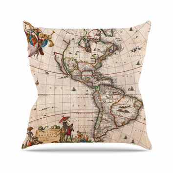 "Bruce Stanfield ""Vintage Map Of The America's "" Brown Green Throw Pillow"
