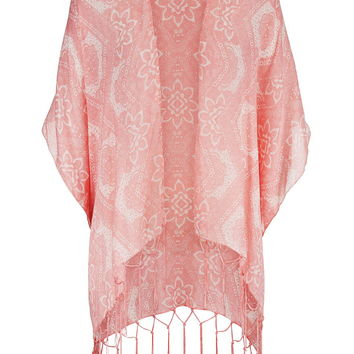 Peach Melba Patterned Scarf Wrap With Fringe - Peach Melba