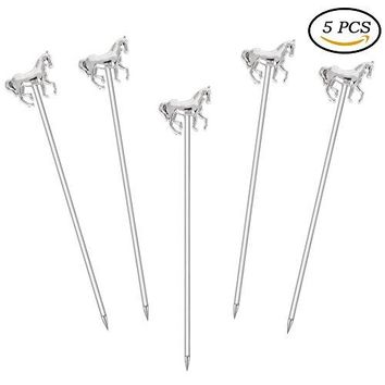 Stainless Steel Martini Cocktail Picks for OliveCocktailParty??????Wedding  Set of 5  Skull