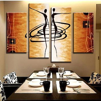 Hot 4 Pcs/Set Modern Abstract Figures Painting Printed on Canvas Dance Lover Figures Golden Wall Art  for Home Decor