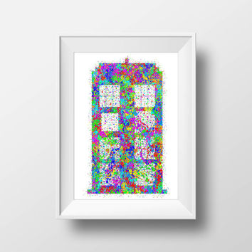 Doctor Who Poster, Rainbow TARDIS Splatter, Dr Who Print