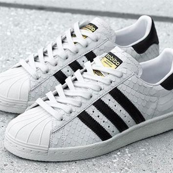 adidas Originals Superstar 80S Gold Logo Scale Fashion Shell-toe Series Flats Sneakers Sport Shoes-1