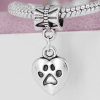 New Silver Plated Bead Charm Vintage Love My Dog Heart Pendant Beads Fit Women Pandora Bracelets & Bangles DIY Jewelry YW15539