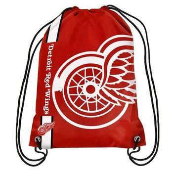 ONETOW NHL Detroit Red Wings Big Logo Drawstring Backpack
