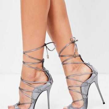 Missguided - Lilac Satin Gladiator Sandals