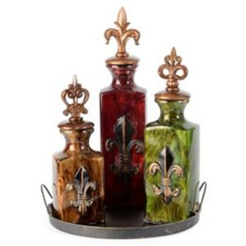 Fleur-de-Lis Applique Bottle, Set of 3 | Kirkland's