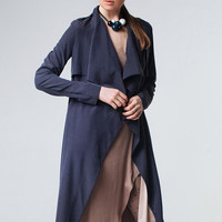 Navy Blue Trench Navy Wrap Dress Women Trench Dark Blue Trench Navy Outwear Dark Blue Dress