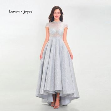Lemon joyce Luxury Evening Dresses 2019 High Neck Cap Sleeves Shiny Sequin Illusion Formal A-line Party Gowns Robe de soiree