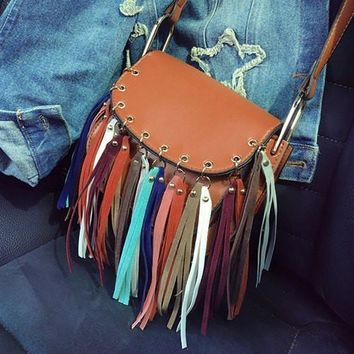 Bohemian Women's Crossbody Bag With Colorful Fringe and PU Leather Design