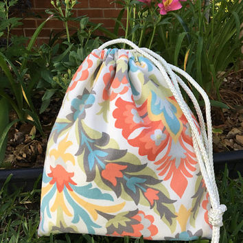 Personalized Drawstring Bag,Waterproof Bag,Beach Bag,Kid Bag,Overnight Bag,Wet Bag,Dance Bag,Gym Bag,Eco Friendly Bag,Floral Print,Monogram