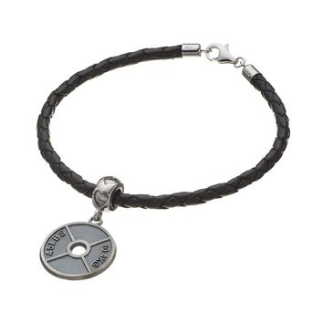 Insignia Collection Sterling Silver Weight Plate Charm Bracelet (Grey)