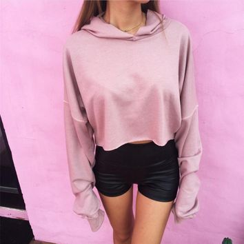 Autumn new fashion casual solid color hooded sweater