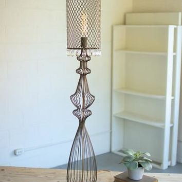 Large Wire Table Lamp With Metal Mesh Shade & Glass Gems