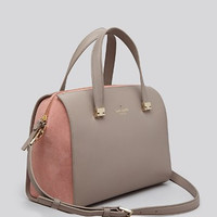 Kate Spade-PARKER STREET ALLENA Grey Light Coral Leather Suede Satchel, RARE
