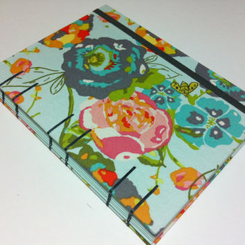 Handmade Fabric Coptic Stitched Journal Notebook Diary - Flowers on Turquoise - Medium