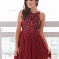 Burgundy Short Dress with Sequin Top