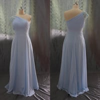 Custom Made Chiffon  Light Sky Blue One Shoulder Prom Dresses, Evening Dress ,Bridesmaids Dress With Beads Waistband