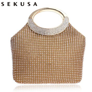 SEKUSA  Handle Messenger Bags For Wedding Party Evening Bags Small Purse Full Rhinestones Bags With Handle Evening Bags